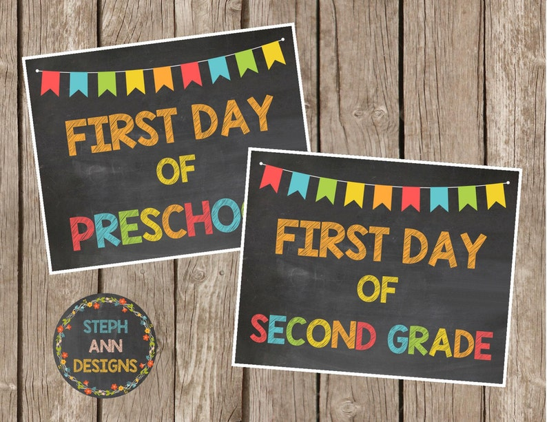 graphic relating to Free Printable Chalkboard Signs known as Printable Initially Working day of Higher education Signs and symptoms-Printable Chalkboard Signs or symptoms-Preschool-Quality 12-8x10 Printables