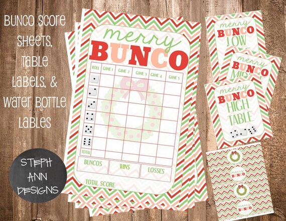 Punchy image inside printable bunco score sheets