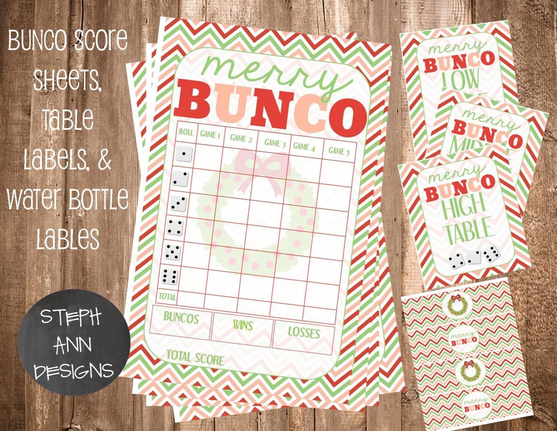 Printable Christmas Bunco Score Sheet Bunco Water Bottle Etsy