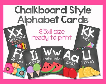 Chalkboard Style Alphabet Cards-Printable 8.5x11 Sized Files-DIGITAL FILE-You Print