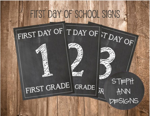 printable first day of school signs printable chalkboard etsy