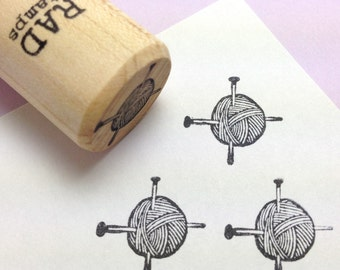 Knitting Needles in Ball of Yarn Rubber Stamp