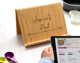 Tablet Stand - Personalised iPad Stand - Bamboo Tablet Holder - Wood iPad Stand - Tablet Accessories - Gift For Techies - LC613