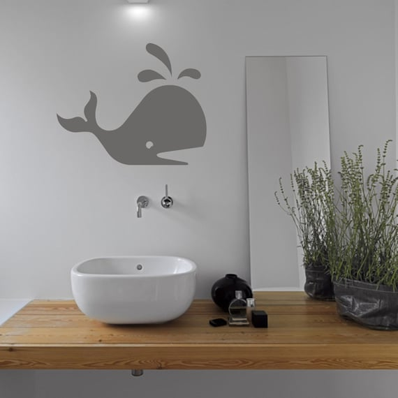 kids bathroom whale wall sticker sea wall stickers whale | etsy