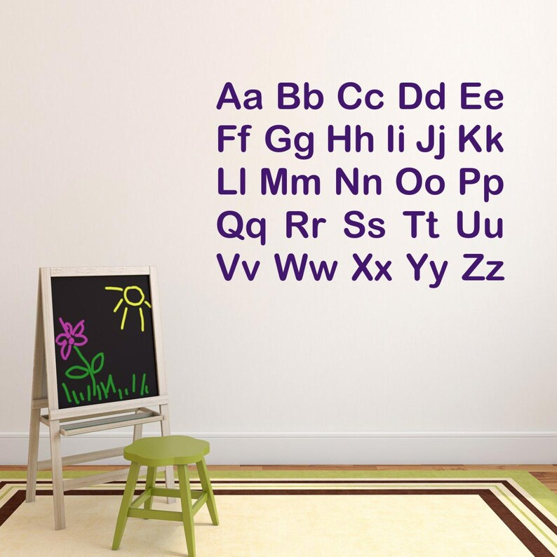 Alphabet Wall Decals Bedroom Wall Stickers Alphabet Letters Wall Stickers PI120 Educational Wall Transfers Letter Wall Art