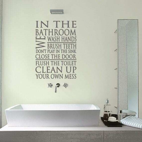 Bathroom Wall Decal Bathroom Rules Quote Bathroom Sticker Etsy