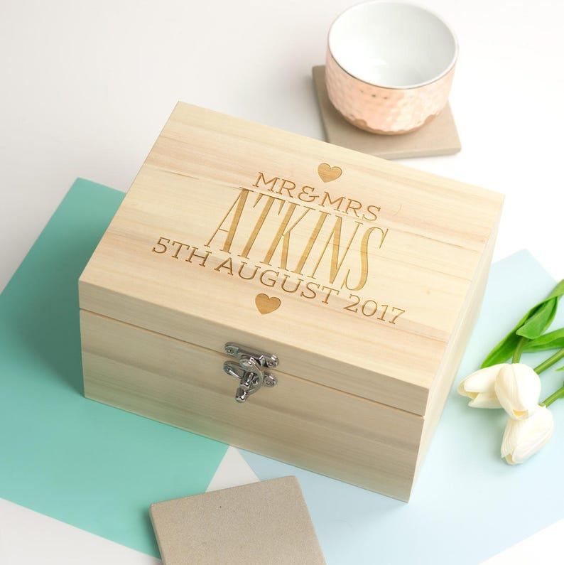 Wedding Keepsake Box Mr Mrs Personalised Keepsake Box Memory Box Wooden Keepsake Box Wedding Gifts Romantic Gifts Lc063