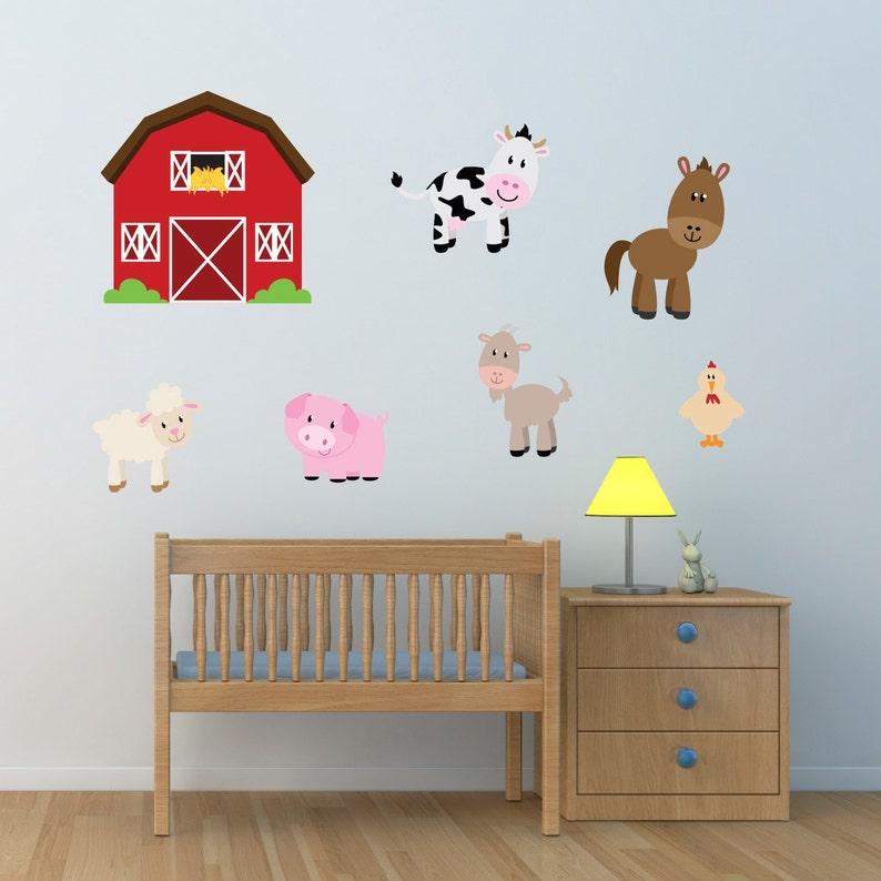 barn with farm animals wall stickers farmyard wall decals | etsy