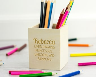 Childrens Pencil Holder - Personalised Wooden Pencil Pot - Gifts For Kids - Pencil Pot - Pen Holder - Back To School - LC138