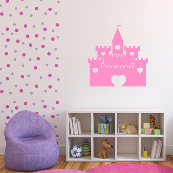 Girls Princess Castle Wall Sticker, Princess Wall Decals, Girls Wall Art,  Nursery Wall Transfers, Bedroom Wall Stickers - PI098