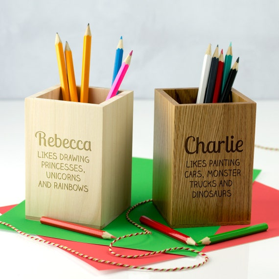 Personalised Dinosaur /& Stars Kids Children/'s Pen Pencil Pot Case Holder