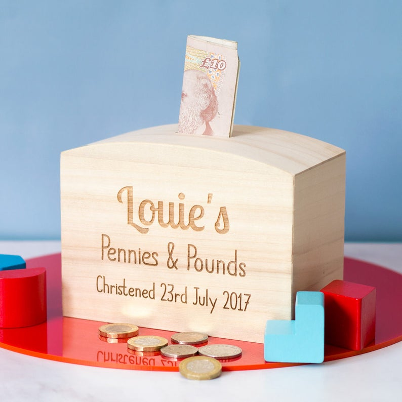 Christening Gift - Christening Money Box - Wooden Money Box - Personalised Money Box - Christening Gift Boy Girl - Money Bank - LC144
