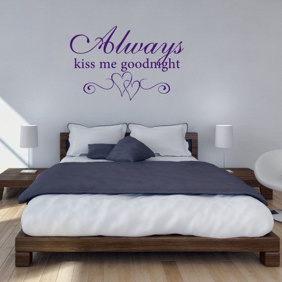 Always Kiss Me Goodnight With Hearts Bedroom Wall Sticker, Bedroom Wall  Decals, Bedroom Quote Wall Art, Heart Wall Transfers - QU474