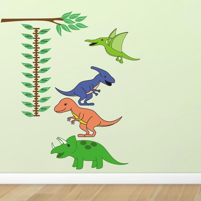 dinosaur growth chart wall sticker boys height chart decals   etsy