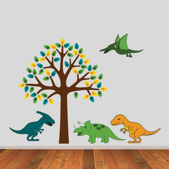 tree with dinosaurs wall stickers dinosaur wall decals boys | etsy