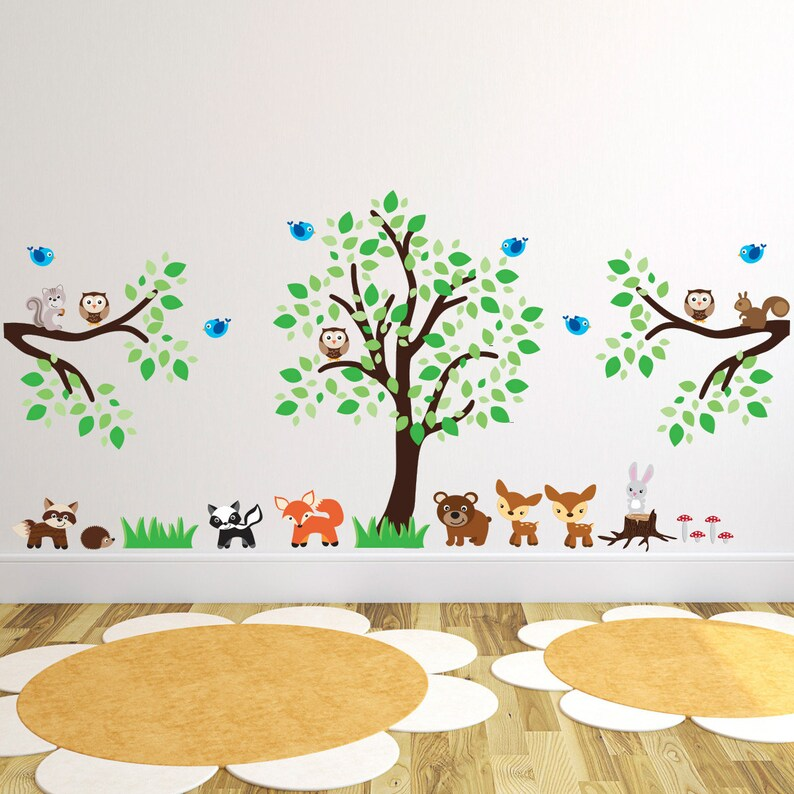 tree with woodland animals and branches wall stickers | etsy