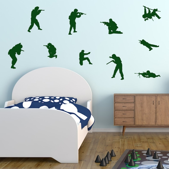 Army Soldiers Wall Stickers, Soldier Wall Decals, Boys Army Wall Art, Boys  Bedroom Wall Transfers - MP004