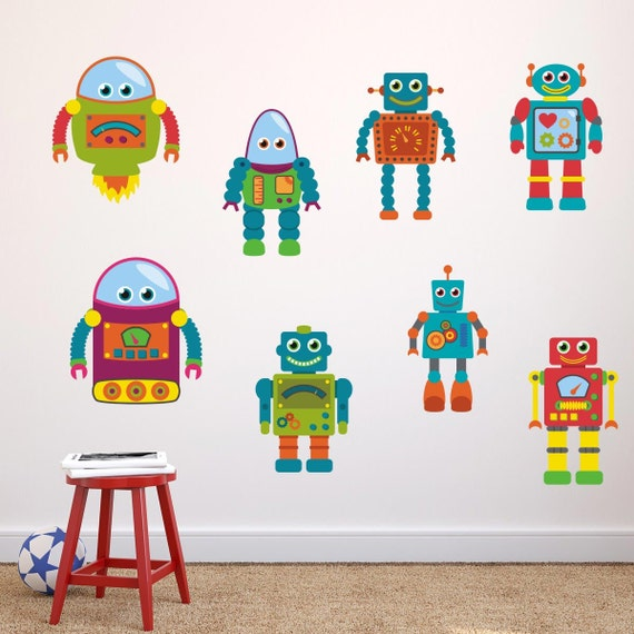 boys robot wall stickers robot wall decals boys wall art   etsy