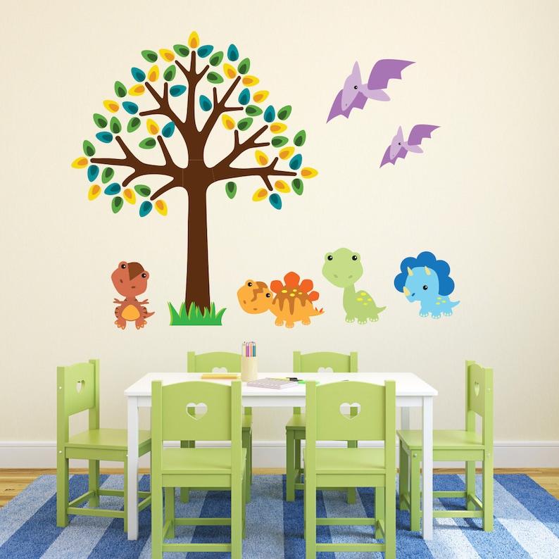 Tree With Baby Dinosaurs Wall Stickers Dinosaur Wall ...
