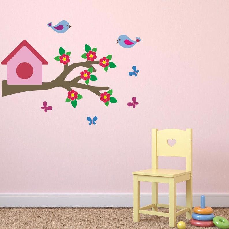 bird wall decals birds & butterflies on branch wall stickers | etsy