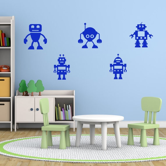 Kids Robot Wall Stickers, Robot Wall Decals Pack, Boys Wall Art, Boys  Bedroom Wall Transfers - MP027