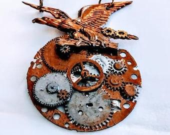 Steampunk Necklace Eagle Brass womans teen men unisex jewelry gift ideas goth gears brass chain