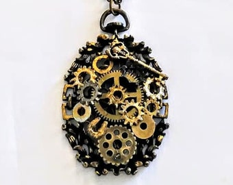 Steampunk Necklace Brass Gears Galore Long Womans teen unisex jewelry gift ideas goth brass chain