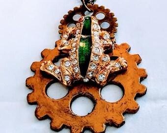 Steampunk Necklace Rhinestone Frog Brass womans teen unisex jewelry gift ideas goth gears brass chain