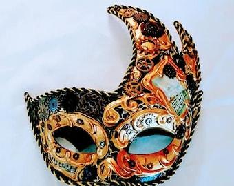Steampunk Mask Unisex Black Gears Clock Keys Industrial gift Accessory cosplay Fantasy Feathers