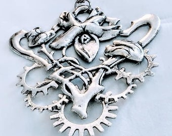 Steampunk Necklace Victorian Art Nouveau Design Sterling Silver Gears urban chic victorian industrial urban jewelry