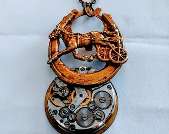 Steampunk Necklace Horseshoe Horse Carriage Brass womans teen men unisex jewelry gift ideas goth gears brass chain