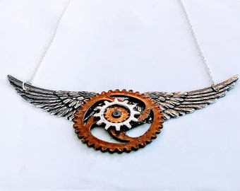 Steampunk Necklace Winged Gears unisex woman jewelry gift ideas goth silver brass chain