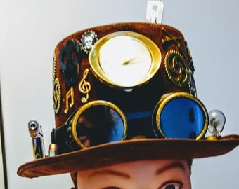 Steampunk Top Hat Unisex Brown Gears Clock Googles Leather Band Keys Industrial gift Accessory cosplay Fantasy Feathers
