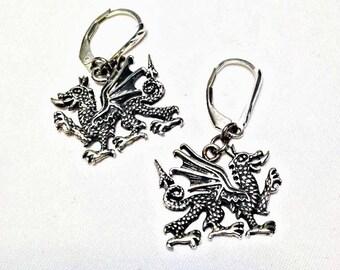 Sterling Silver Dragon Earrings Jewelry Pierced Dangle earrings womans teen jewelry gift ideas