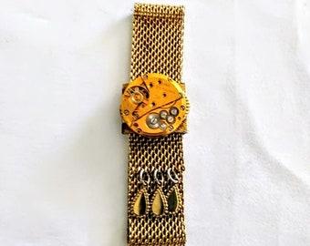 Steampunk Gold Mesh Braclet Vintage Watch Parts Steampunk Adjustible Slide Bracelet womans jewelry teen bracelet  victorian Steampunk