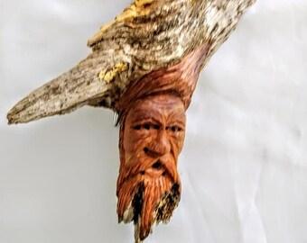 Art Carved Wooden Face Sculpture Handmade Multi Textured Artistic Sculpture Signed B. Kilby