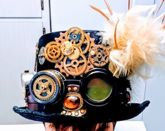 Steampunk Top Hat Unisex Black  large lens Googles Gears Clock Keys Industrial gift Accessory cosplay Fantasy Feathers