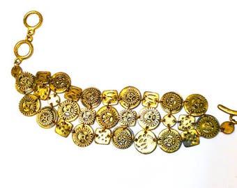Steampunk Bracelet Gears Antique Brass Womans Teen Jewelry gift ideas charms statement bracelet
