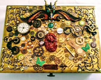 Dragon Storage Box Mixed Media Steampunk Accessories Designed by Kathy Stemke