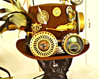 Steampunk Top Hat Large Brown Gears Clock Googles metal band working light Keys Industrial gift Accessory cosplay Fantasy Feathers