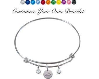 CustomCharms Delaware State Gold Expandable Wire Charm Bracelet Bangle w//Purple Color Crystals