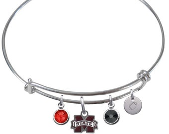 CustomCharms Oregon State Gold Expandable Wire Charm Bracelet Bangle w//Clear Color Crystals