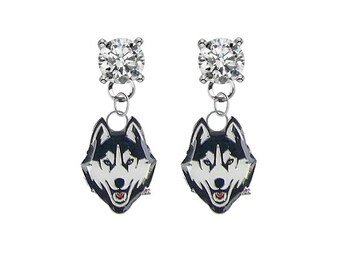 NCAA Connecticut Huskies Logo Dangler Earrings