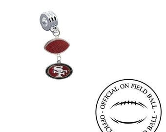 2b35dbf1962ac San Francisco 49ers Football European Charm for Bracelet, Necklace & DIY  Jewelry Made With Authentic Official On Field Leather Football