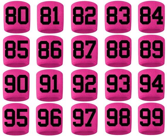 #0-19 Number Sweatband Wristband Sport Football Baseball Basketball Pink White