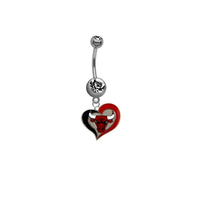 Chicago Bulls Swirl Heart Basketball Sexy Belly Button Navel Ring