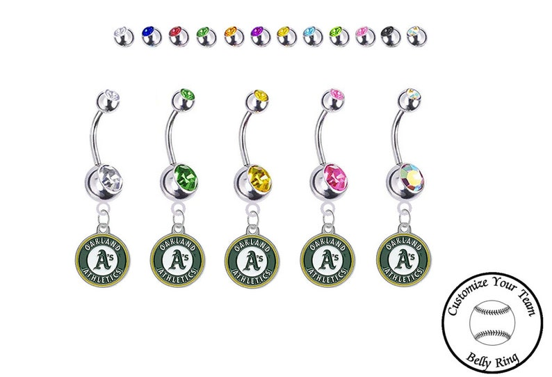 Oakland Athletics Silver Belly Button Navel Ring Customize Your Color Crystal Rhinestone Gems