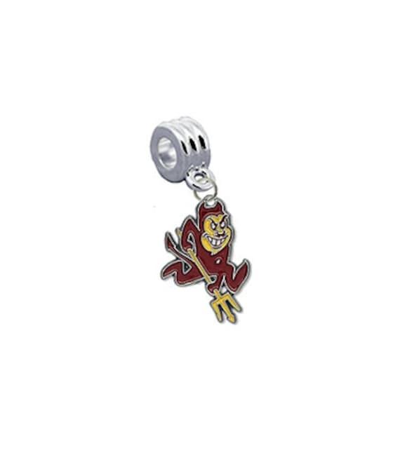 Arizona State Devils 2 Wire Bangle Charm Bracelet Crystal Gems PICK YOUR COLOR