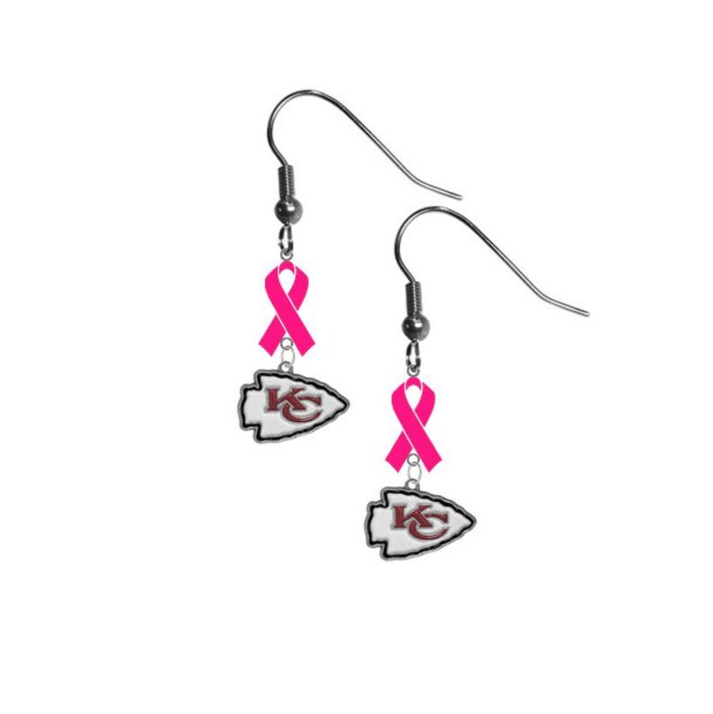 Kansas City Chiefs Football Breast Cancer Awareness Hot Pink Ribbon Earrings