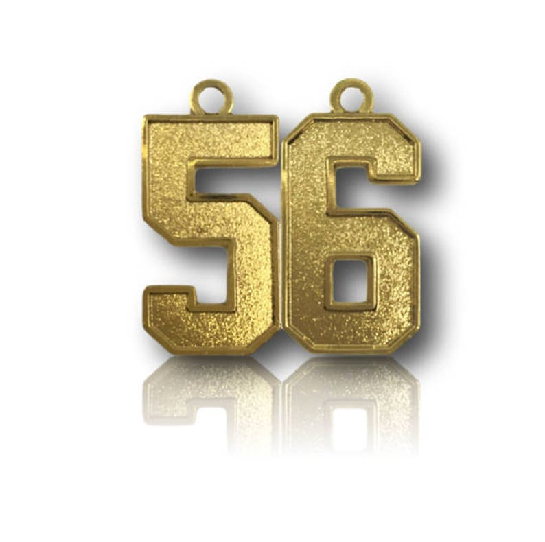 Number 56 Jersey Style Sports Necklace Charm Pendant GOLD PLATED Football Baseball Basketball Soccer Lacrosse Hockey 0.8 Tall